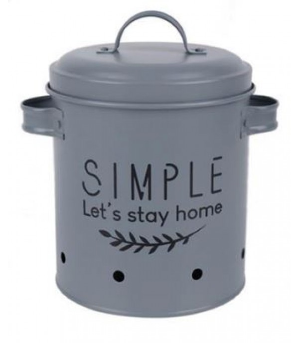 CANISTER 17.5X14X16CM SIMPLE GRAY