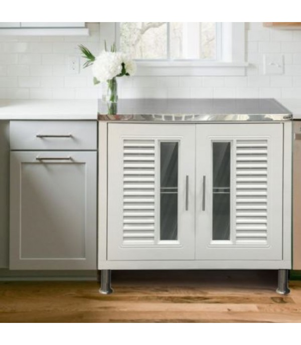 KING BASE CABINET STAINLESS TOP NUVO W89.5XD51.5XH79 CM WHITE