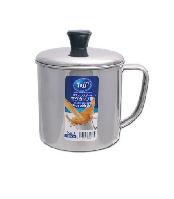 TOFFI 11CM STAINLESS STEEL MUG WTH COVER D0811 CNMT