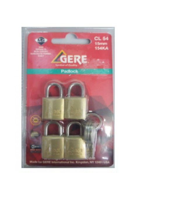 BRASS PADLOCK GERE CL54 15MM 4EA KA