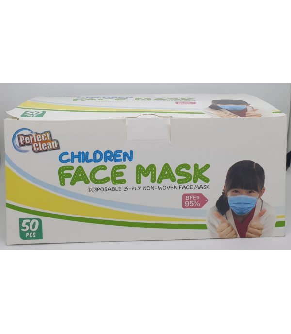 PERFECT CLEAN DISPOSABLE 3-PLY CHILDREN FACE MASK 50'S