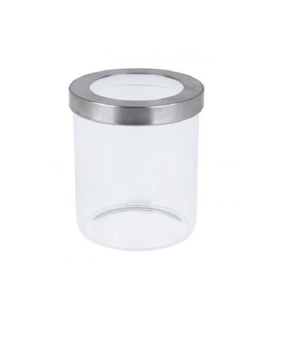 CANISTER GLASS RD SCREW LID SIL/CLR