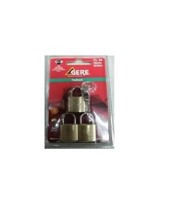 BRASS PADLOCK GERE CL54 20MM 3EA KA
