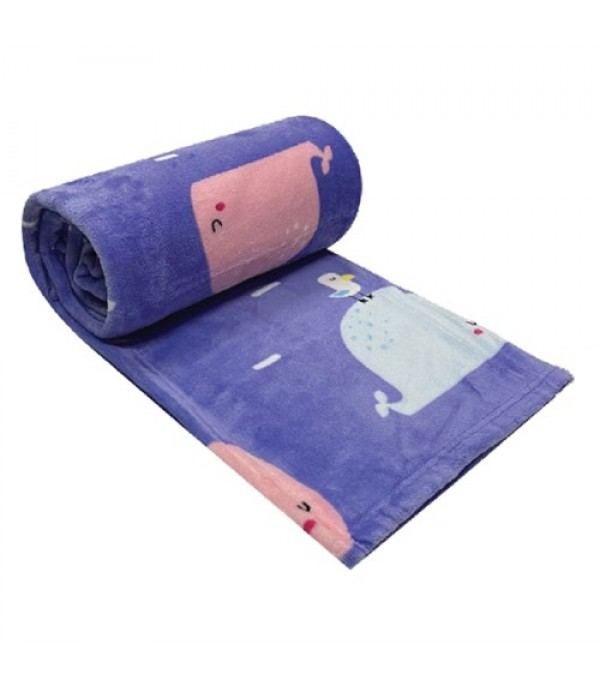 BLANKET 50X60 HL WHALE PURPLE