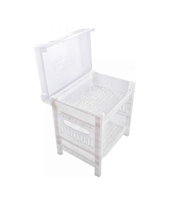 DISH RACK WITH CVR SN 787 2TIERS WHITE