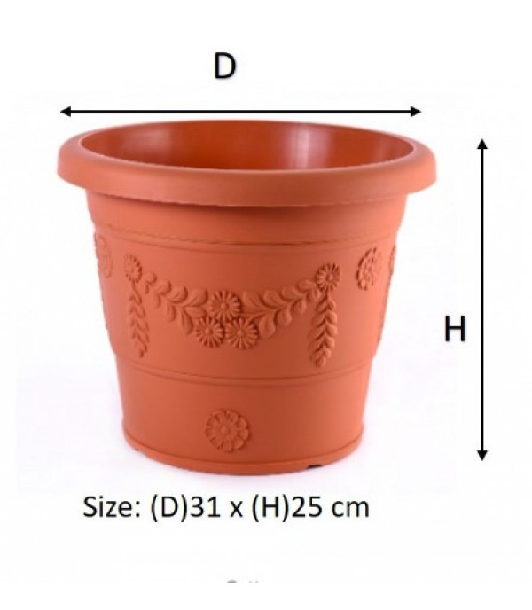 BABA BIO ROMAN FLOWER POT GR310 COTTA